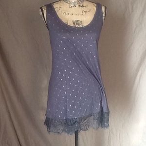 Tops - Blue and gold lacy trim tank 2X